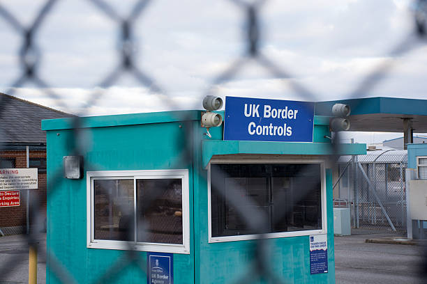 UK Border control checkpoint immigration election stock photo