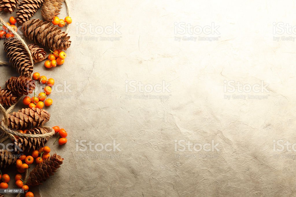 Border Created By Small Pine Cones Twine And Orange Berries stock photo