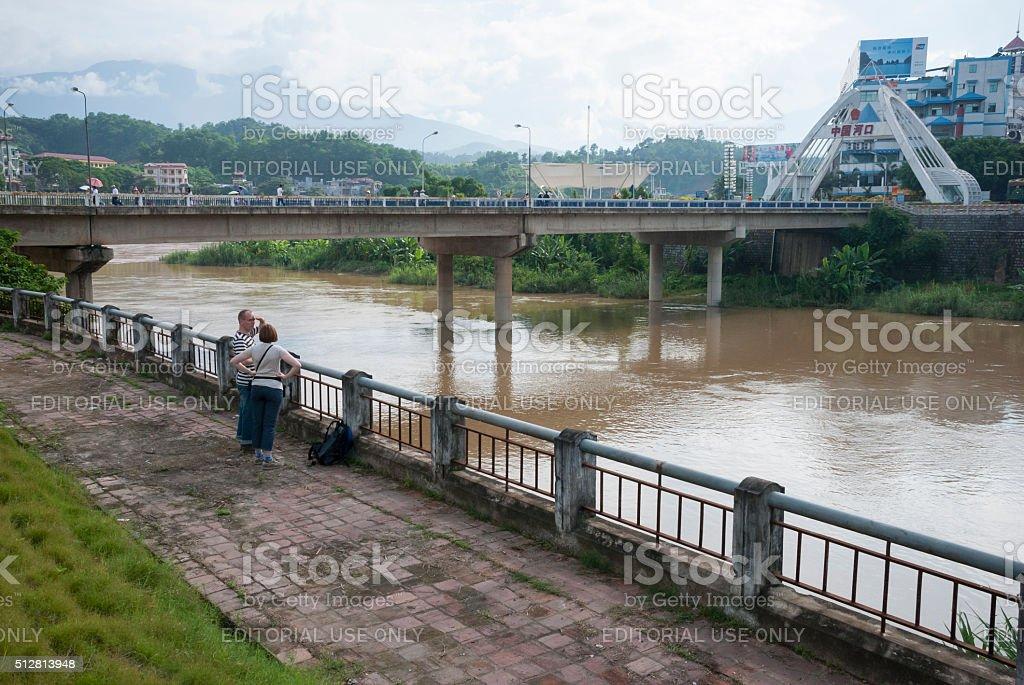 Border crossing between China and Vietnam stock photo
