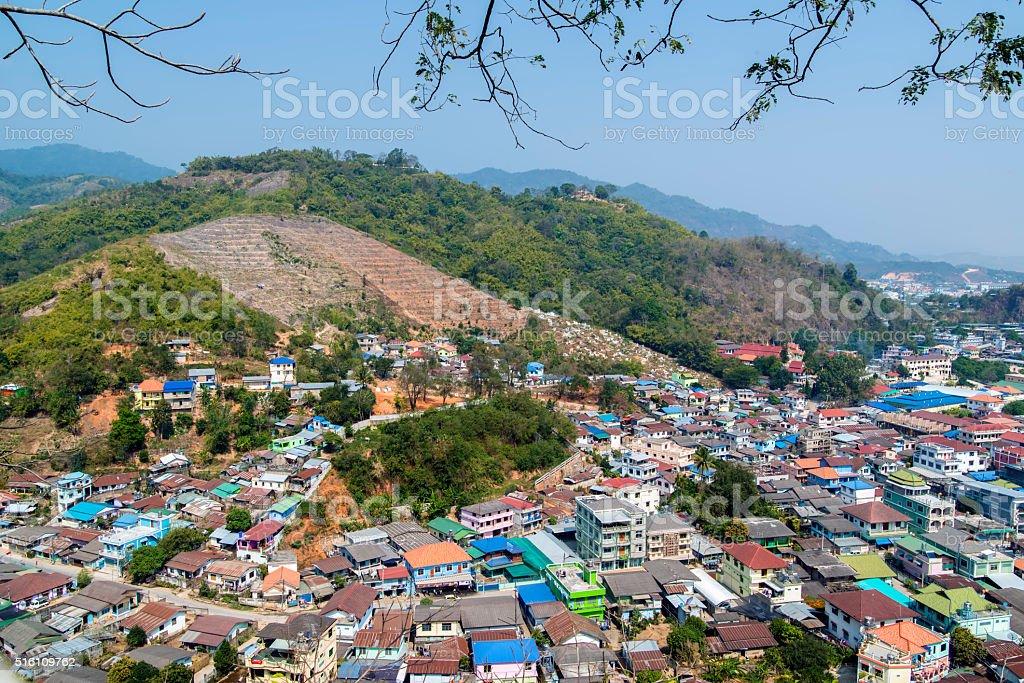 Border Crossing Between Thailand and Myanmar stock photo