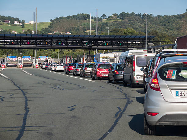 Border crossing Spain and France stock photo
