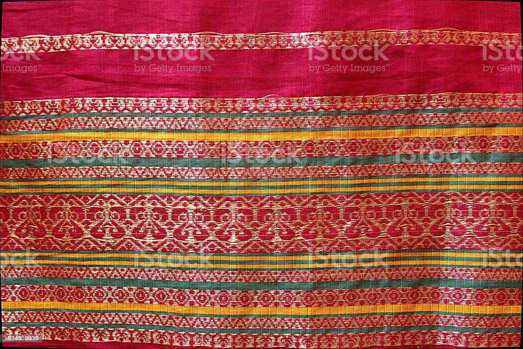 Border Design on Silk Sari stock photo