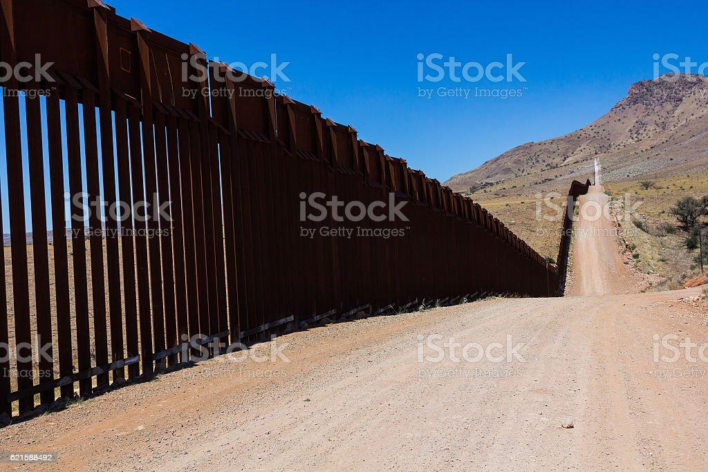 Border fence stock photo