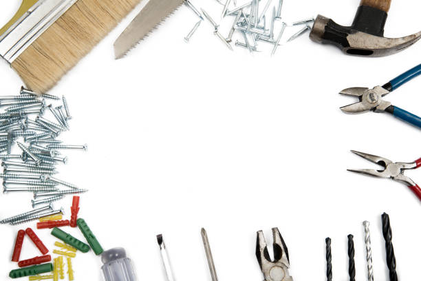 Border frame of Construction Tools on white background. Copy space inside. stock photo