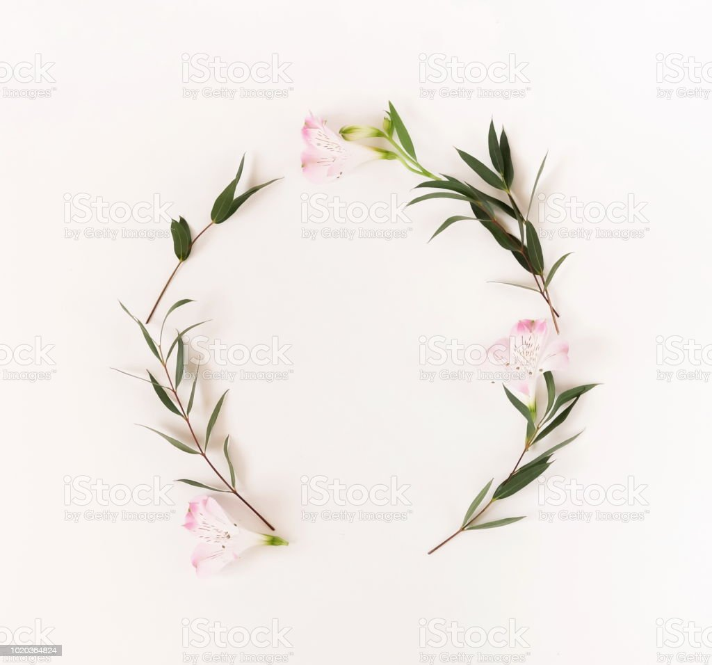 border frame wreath made of pink flowers and eucalyptus