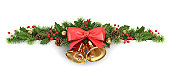 istock Border from holly and christmas tree 158225515