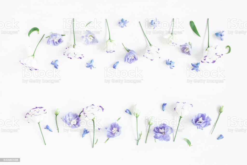 Flowers composition. Border made of lilac and white flowers. Flat...