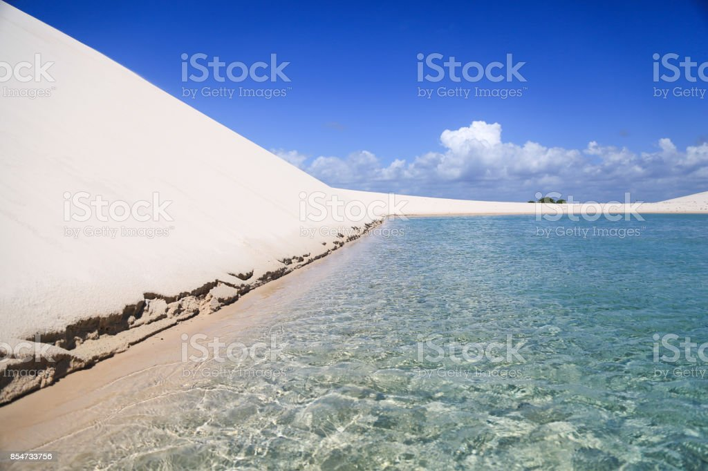 Border of a blue lagoon stock photo