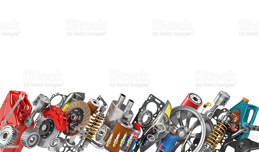 Border of auto parts isolated on white. Auto service. stock photo