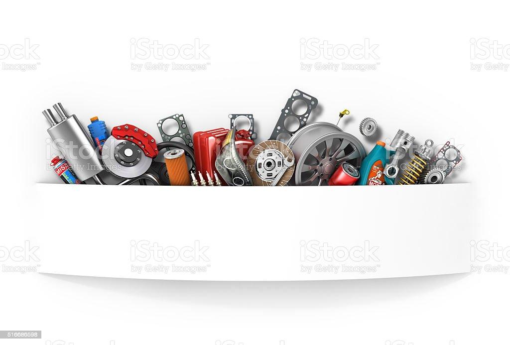 Border Of Auto Parts Isolated On White Auto Service Stock Photo ...