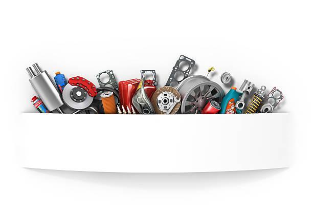 Border of auto parts isolated on white. Auto service. stock photo