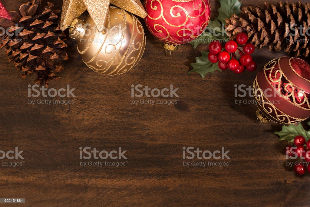 Border of Christmas decorations with copyspace. stock photo