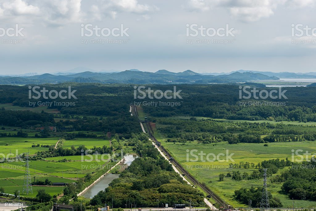 Border of Demilitarized zone stock photo