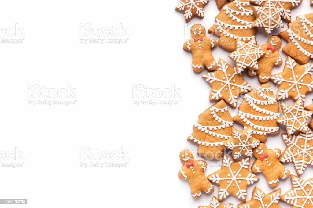 Grenze der hausgemachten Lebkuchen Weihnachtsgebäck auf weiß - Lizenzfrei Backen Stock-Foto