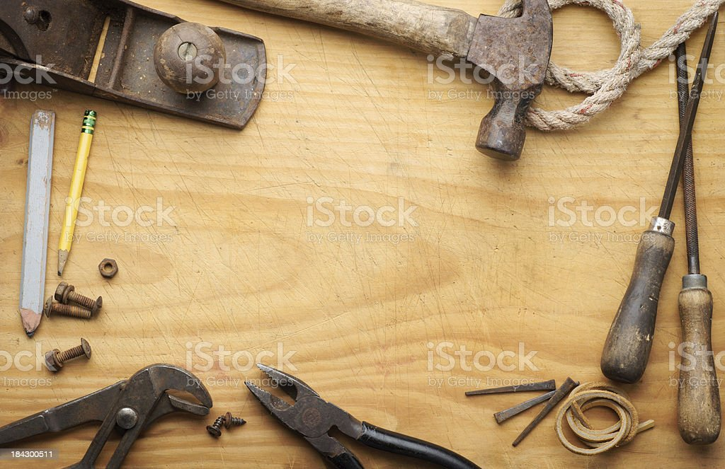 Border of old tools. stock photo