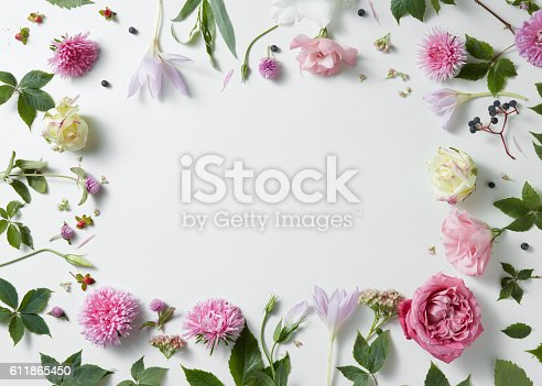 istock border of pink and white roses with green leaves 611865450