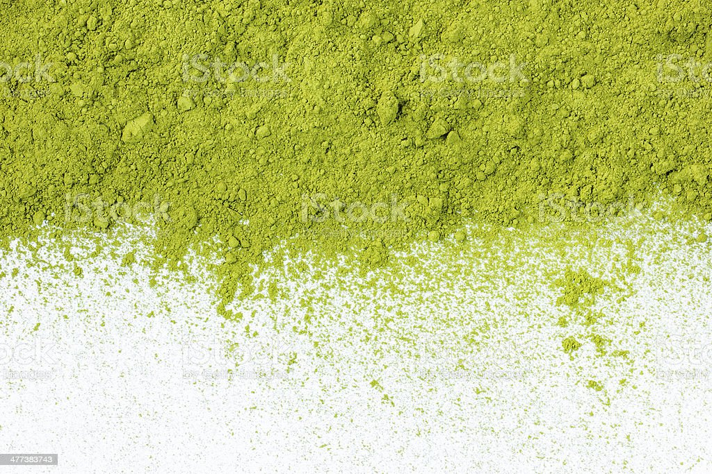 border of powdered green tea stock photo