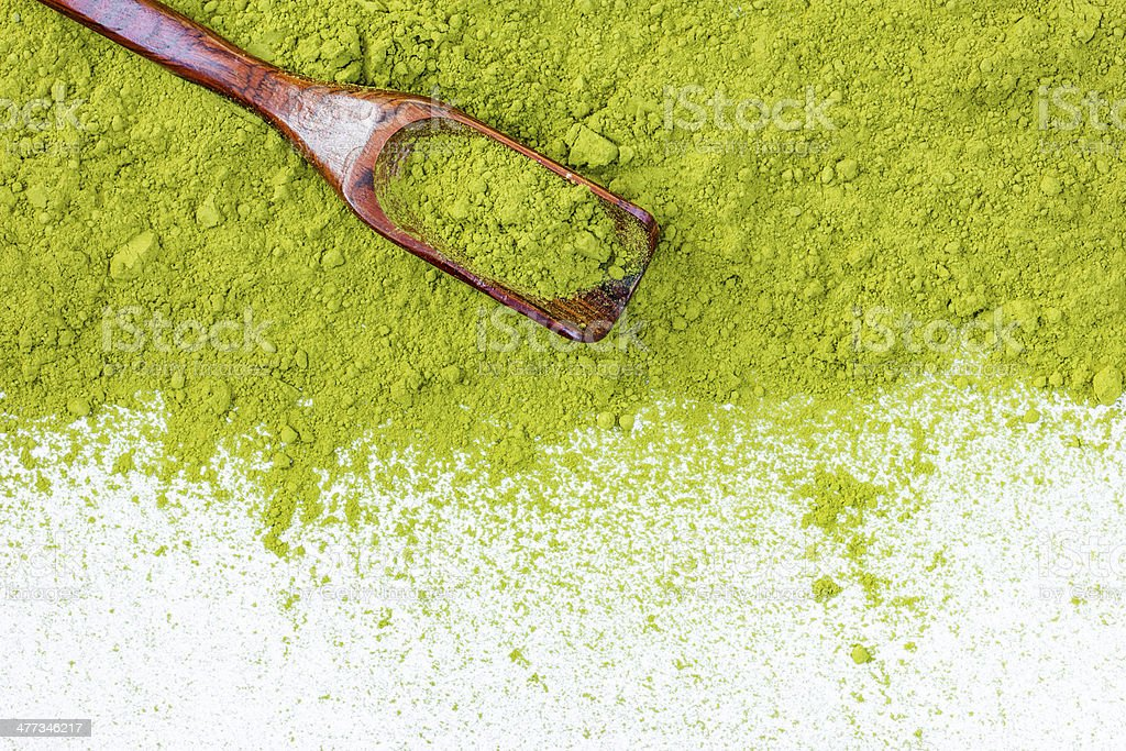 border of powdered green tea top view close up stock photo