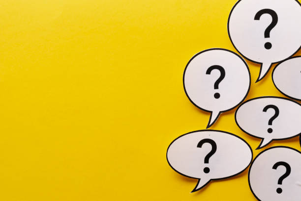 Border of question marks in speech bubbles stock photo