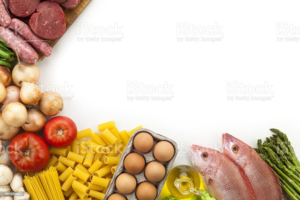 Border of various types of food with copy space stock photo