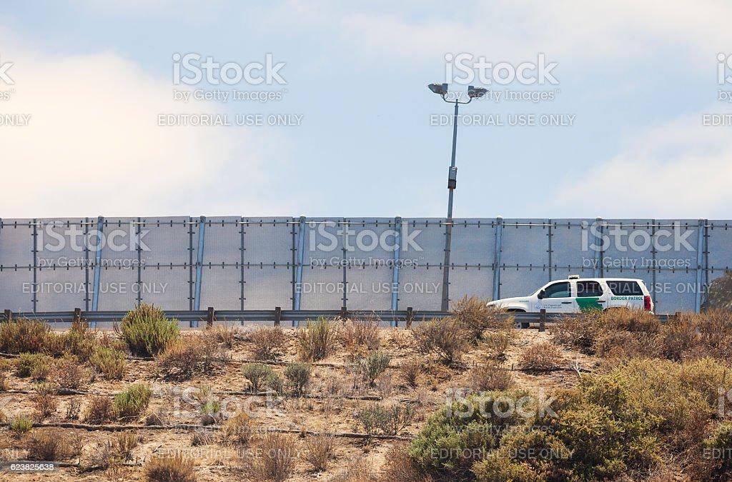 Border Partol driving along the US Mexico border stock photo