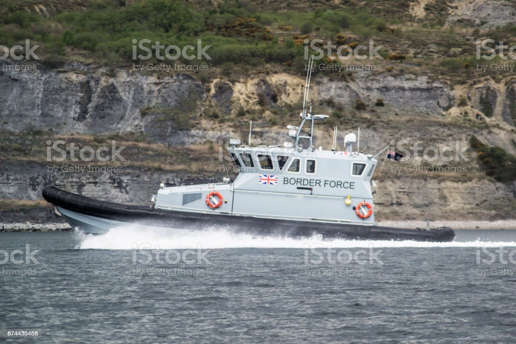 Border patrol boat stock photo