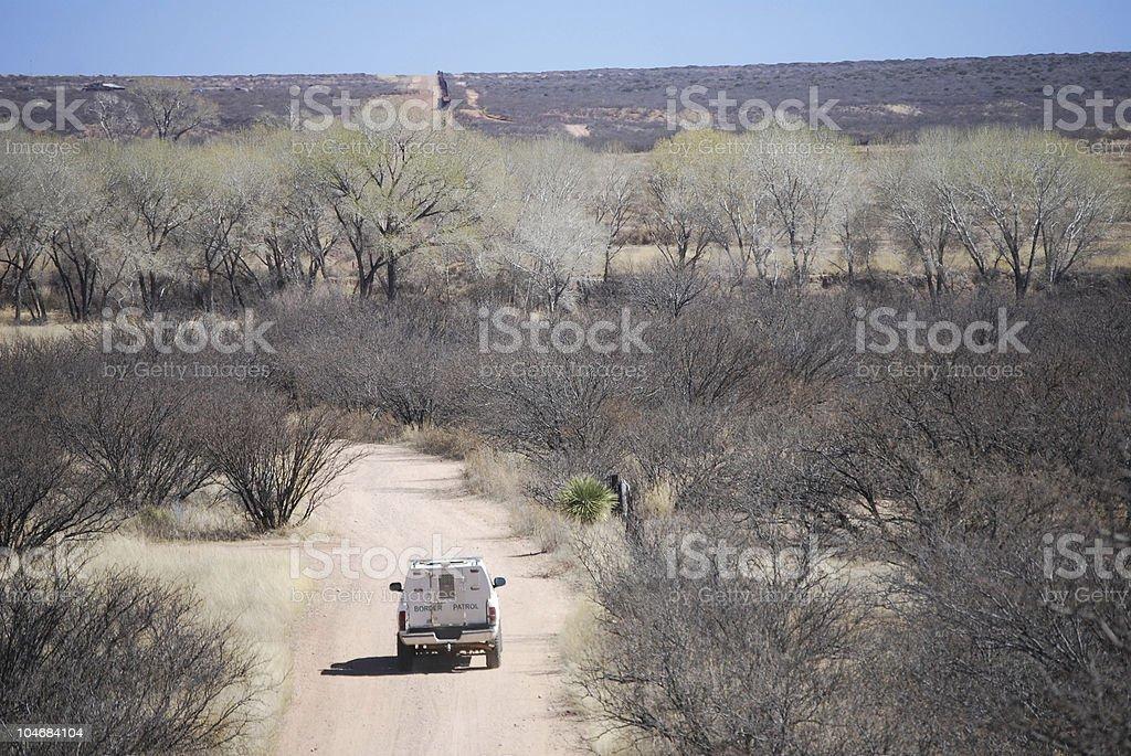 Border patrol in riverbed royalty-free stock photo