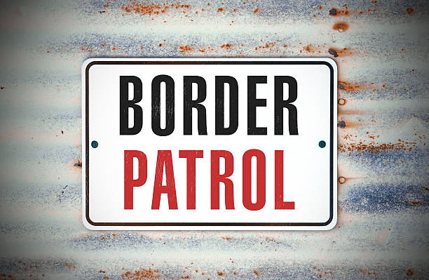 """Border Patrol A sign that says """"Border Patrol."""" border patrol stock pictures, royalty-free photos & images"""