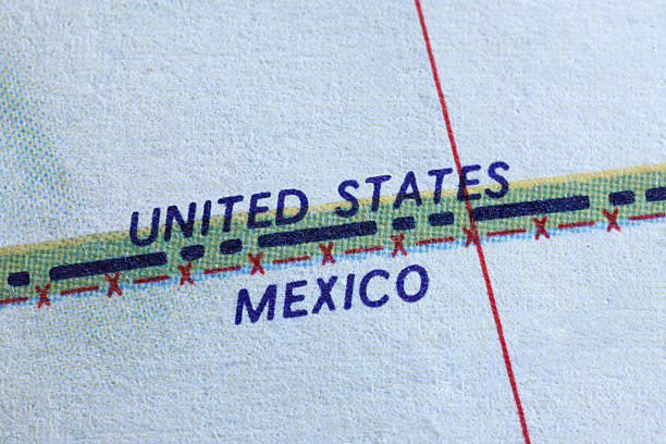 Border Close up of a map showing the U.S. and Mexican border. geographical border stock pictures, royalty-free photos & images