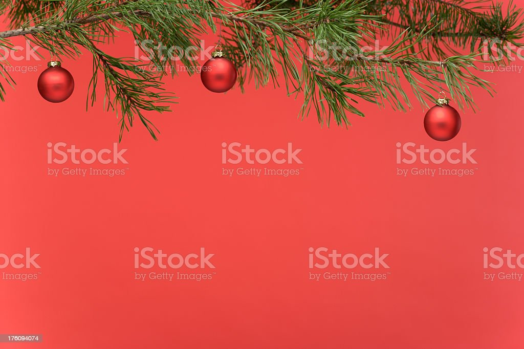 Border - Pine Branch with Red Christmas Ornaments. Full Frame. royalty-free stock photo