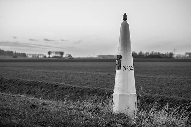 Border post between The Netherlands and Belgium stock photo