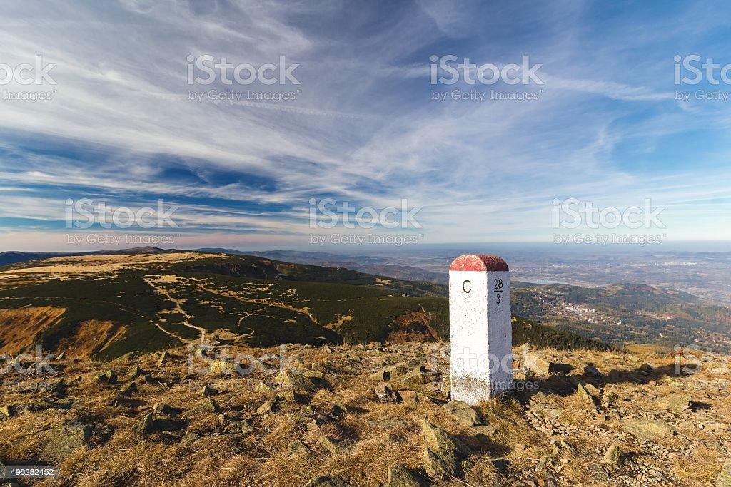 Granicznej Granica stanu w Polsce i Czechach w górach – zdjęcie