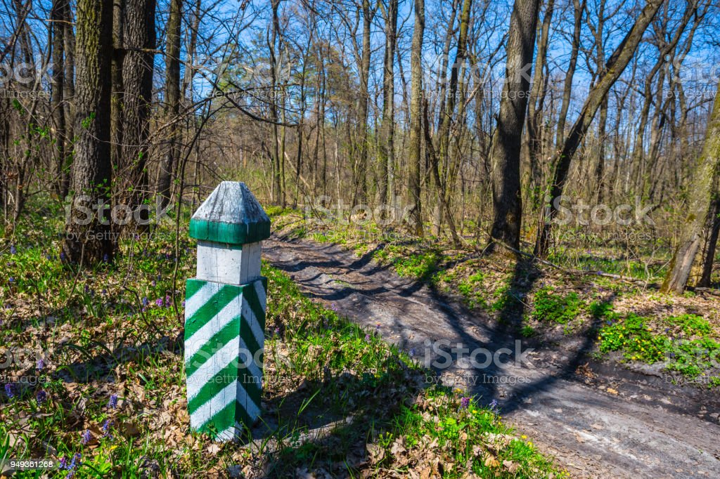 border post stay near a forest road stock photo