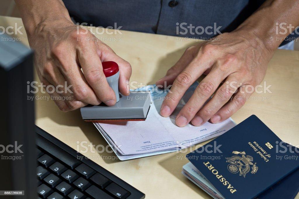 US Border Security, Homeland Security, Pass Prüfstation für Einwanderung - Lizenzfrei USA Stock-Foto