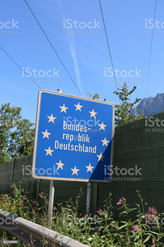 border sign of Germany in Central Europe stock photo