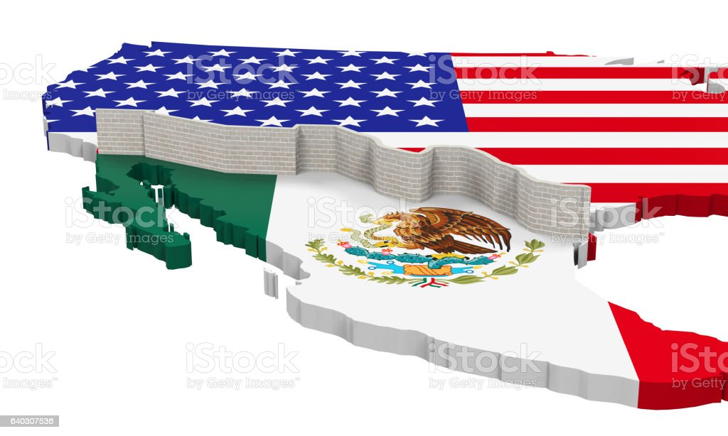 Border Wall Between America and Mexico stock photo