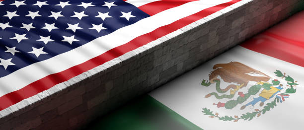 Border wall between US of America and Mexico flags. 3d illustration USA and Mexico split. Border wall between US of America and Mexico flags. 3d illustration sanctions stock pictures, royalty-free photos & images