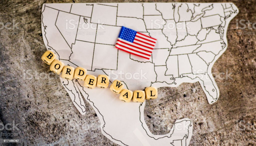 Border wall business concept United States and Mexico stock photo