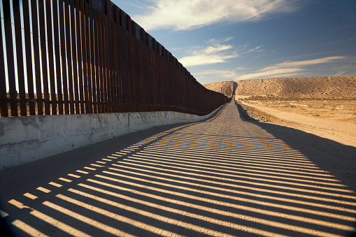 Us Border Wall Fence Stock Photo - Download Image Now