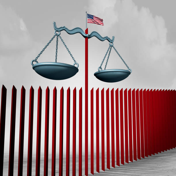 Border Wall Legal Challenge Border wall legal challenge as an American security barrier government immigration policy at the US Mexico national boundary with 3D illustration elements. deportation stock pictures, royalty-free photos & images