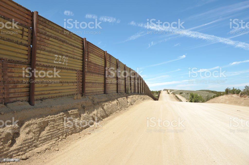 Border Wall The southern USA-Mexican border, Campo, California, 2017. California Stock Photo