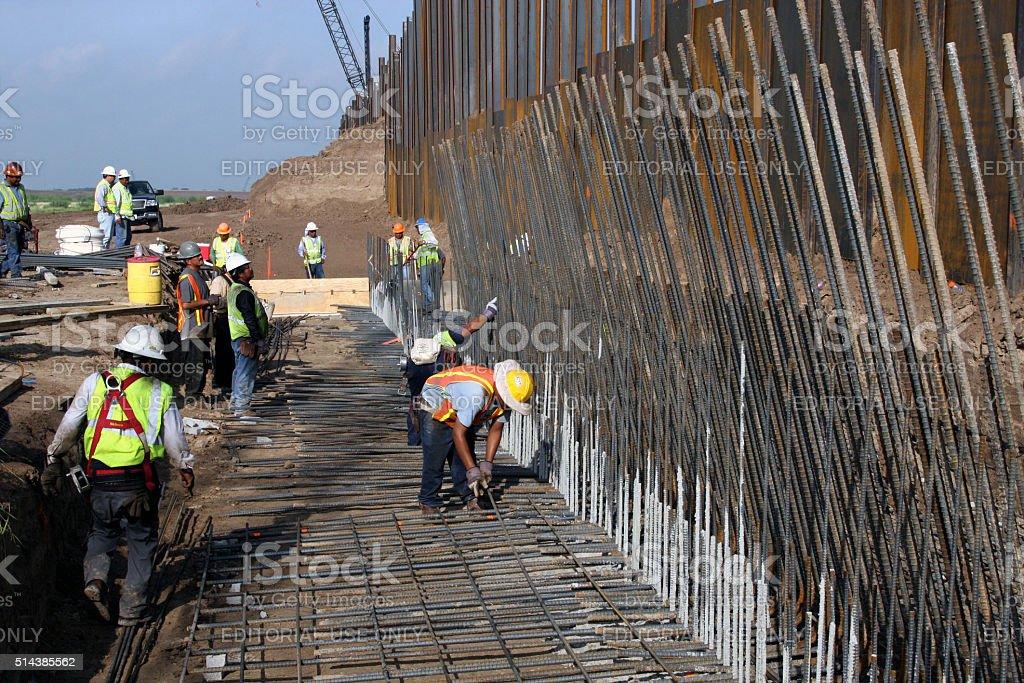 Border Wall, Rio Grande Valley, Texas, Aug., 2008 stock photo