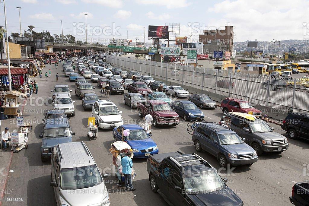Borderline of the Tijuana crossing facing towards Mexico royalty-free stock photo