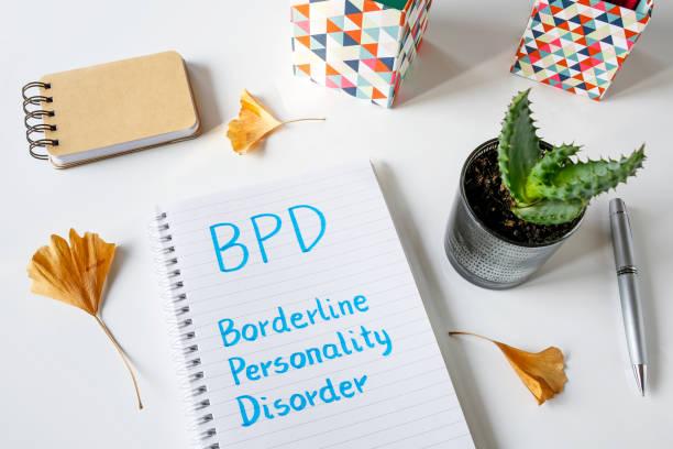 bpd borderline-persönlichkeitsstörung, die im notizbuch geschrieben - arzt zitate stock-fotos und bilder