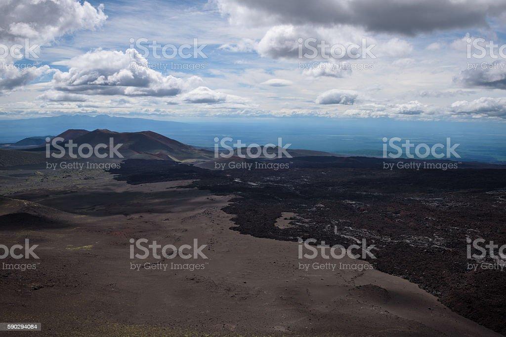 Borders of the lava stream from Tolbachik Volcano eruption Стоковые фото Стоковая фотография