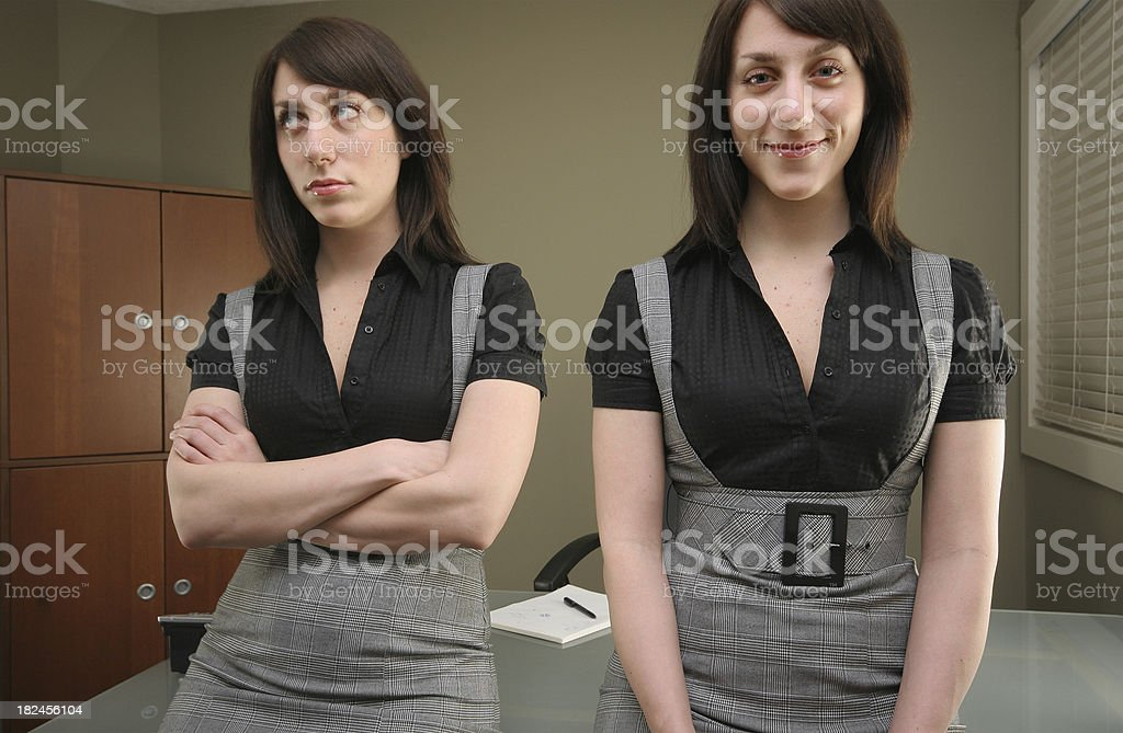 Bored and Happy Multiple Personalities royalty-free stock photo