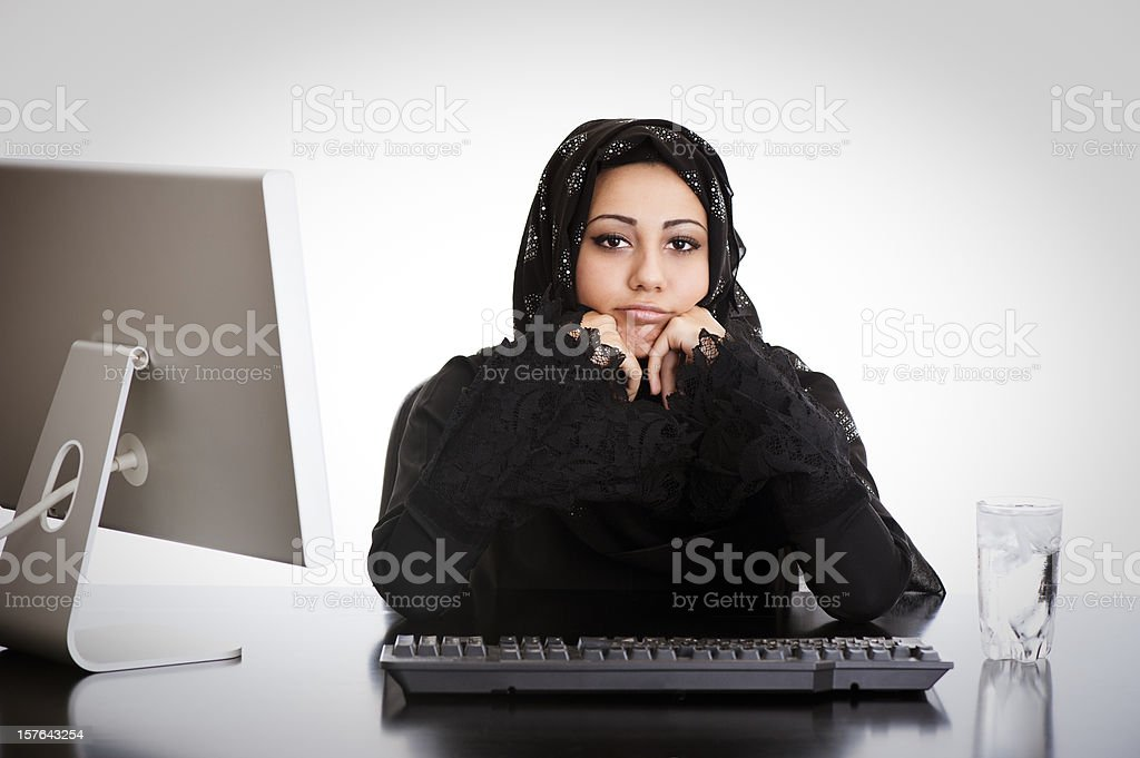 Bored Arabic office girl royalty-free stock photo