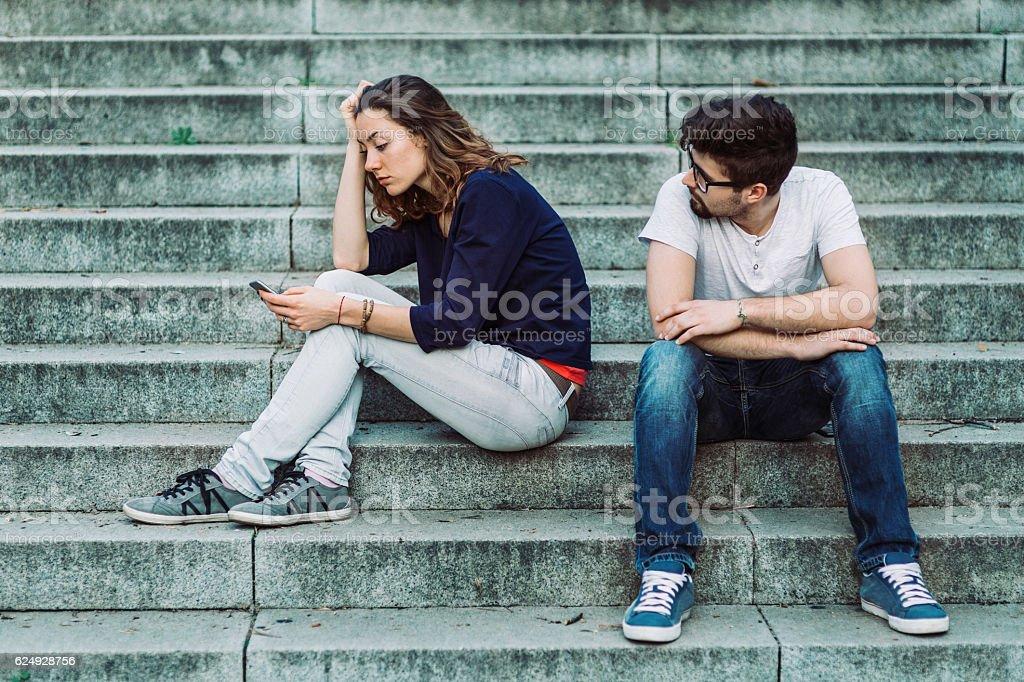 Bored couple stock photo