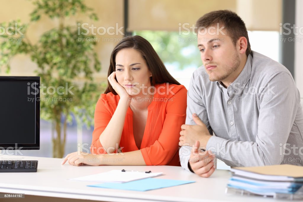 Bored customers waiting for attendance stock photo
