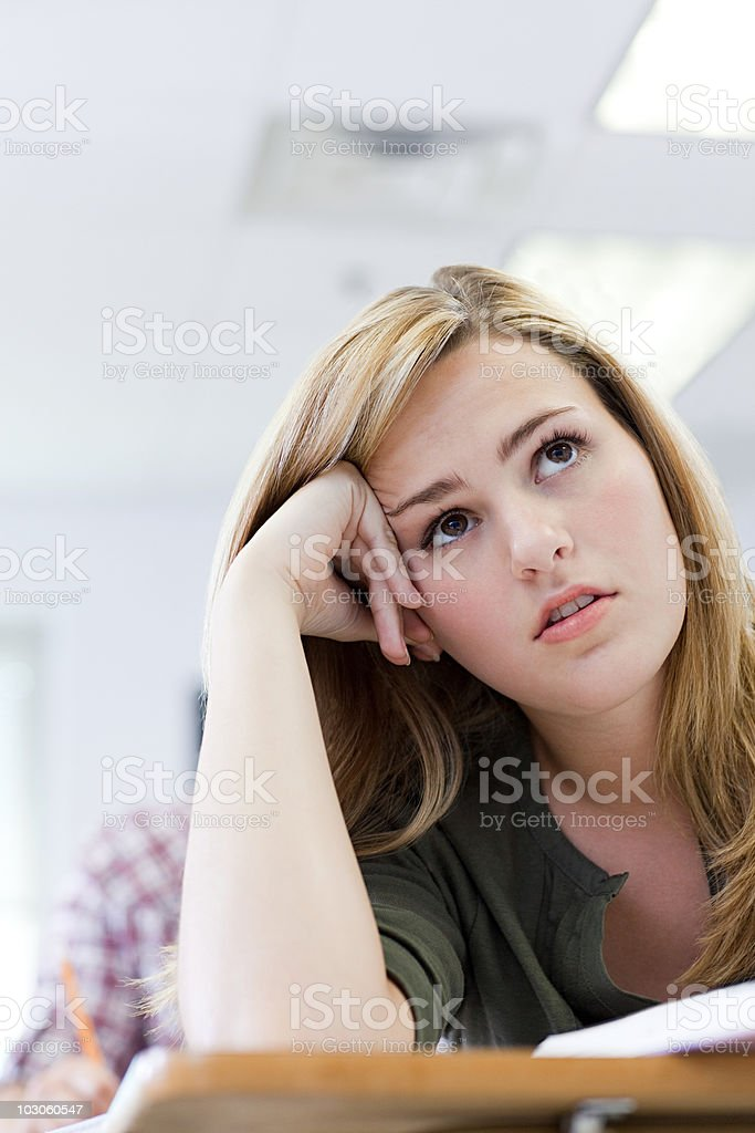 Bored female high school student royalty-free stock photo